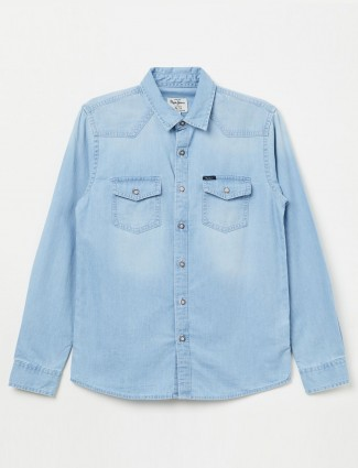 Pepe Jeans light blue solid denim shirt
