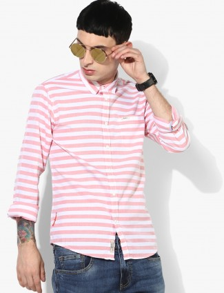 Pepe Jeans pink and white stripe shirt