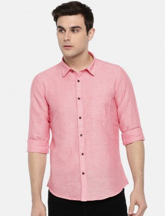 Pepe Jeans pink color solid cotton shirt