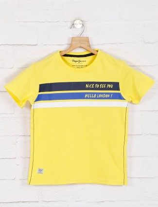 Pepe jeans printed yellow half sleeve casual t-shiet
