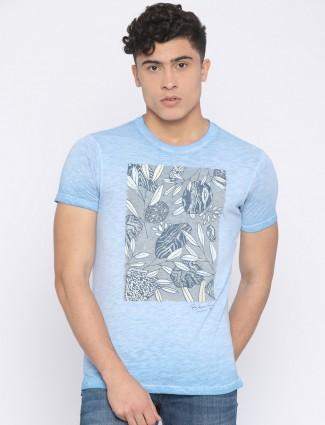 Pepe jeans sky blue color cotton t-shirt