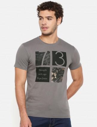 Pepe Jeans slim fit grey printed t-shirt
