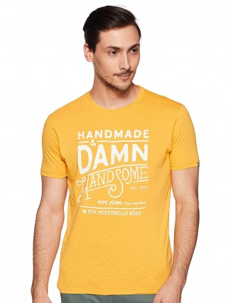 Pepe Jeans slim fit printed yellow t-shirt