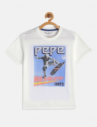 Pepe Jeans slim fit white printed t-shirt