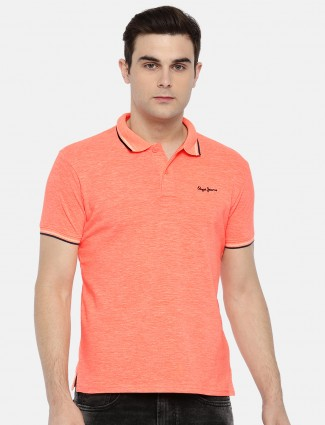 Pepe Jeans solid mens orange colored t-shirt