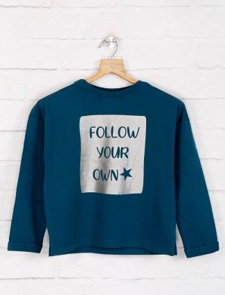 Pepe Jeans teal green printed top