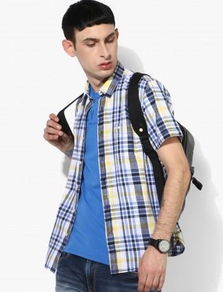 Pepe Jeans white cotton checks casual shirt
