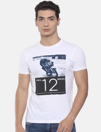 Pepe jeans white printed man t-shirt