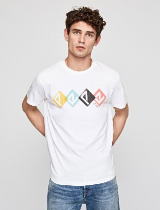 Pepe Jeans white printed mens casual t-shirt