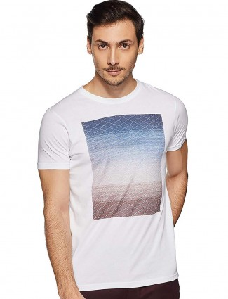 Pepe Jeans white printed mens slim fit t-shirt