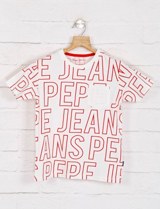 Pepe jeans white printed t-shirt casual wear
