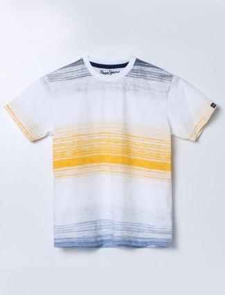 Pepe Jeans white stripe slim fit t-shirt