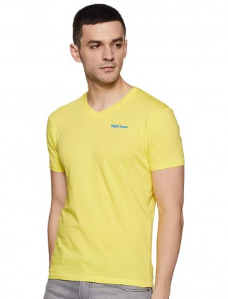 Pepe Jeans yellow solid v neck t-shirt