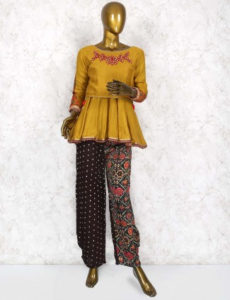 Peplum style mustard yellow punjabi salwar suit