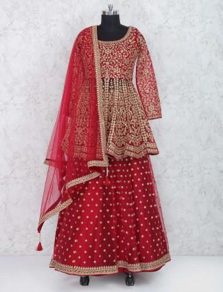 Peplum style red bridal lehenga choli