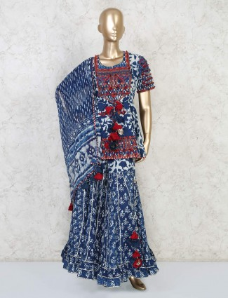Peplum style sharara suit in royal blue cotton