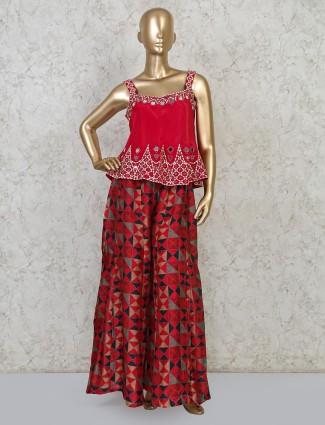 Peplum style thread woven palazzo set
