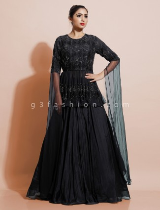 Peplum top with lehenga in black georgette