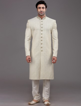 Peppy beige sherwani in silk