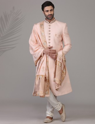 Peppy pink sherwani in raw silk
