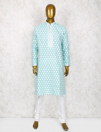 Pestal green cotton silk kurta suit
