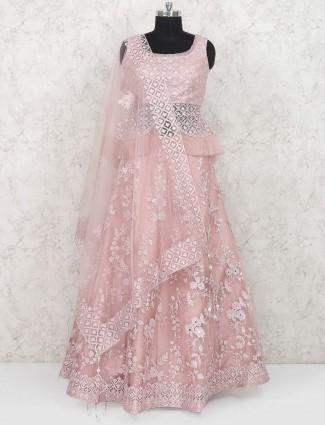 Peplum style pink net lehenga choli
