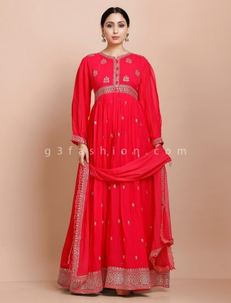 Pink aline kurti with dupatta in georgette for wedding