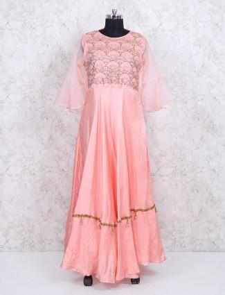 Pink anarkali silk salwar kameez