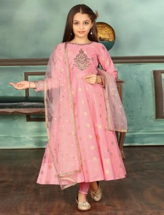 Pink anarkali suit cotton silk wedding wear