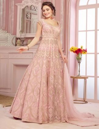 Pink anarkali suit for wedding