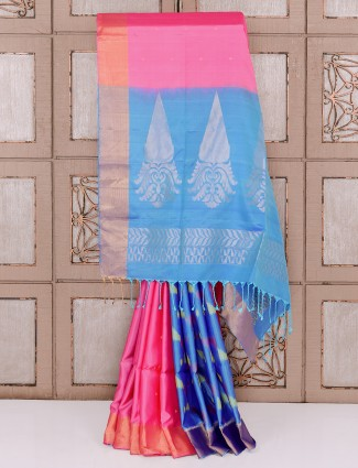 Pink and aqua color silk half and half saree