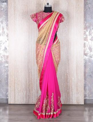 Pink and beige georgette half and half saree