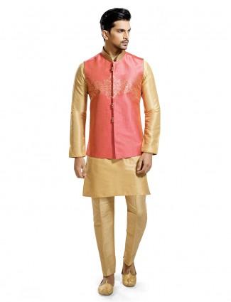 Pink and beige hue silk waistcoat set