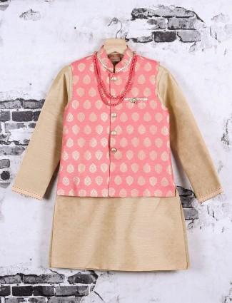 Pink and beige silk fabric waistcoat set