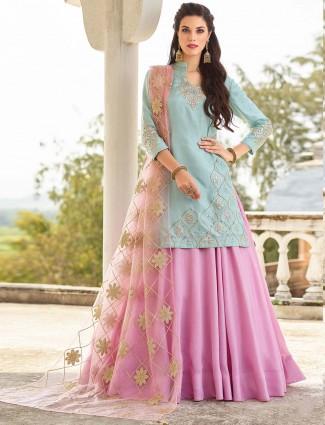 Pink and blue hue cotton silk fabric lehenga cum salwar suit