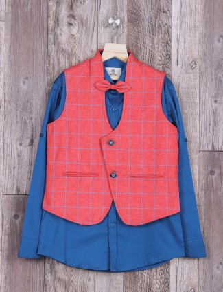 Pink and blue terry rayon waistcoat