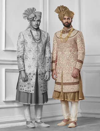 Pink and gold silk sherwani