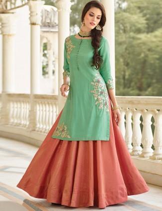 Pink and green hue cotton silk lehenga cum salwar suit