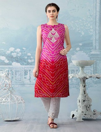 Pink and green thread work Kurti set in cotton