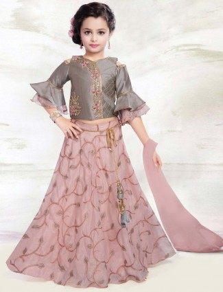 Pink and grey hued silk fabric lehenga choli