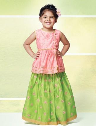 Pink and light green cotton silk lehenga choli