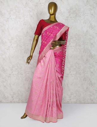 Pink and magenta hue half and half saree in semi silk