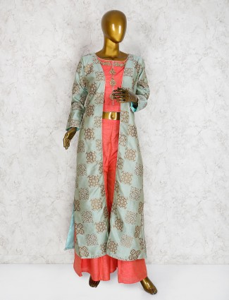 Pink and mint green punjabi designer palazzo suit