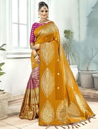 Pink and mustard yellow semi silk half and half saree