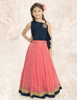 Pink and navy lehenga choli for party wear