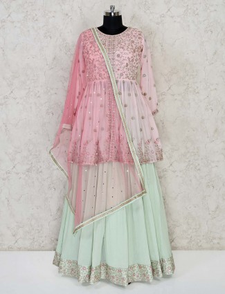 Pink and pista green punjabi lehenga suit in georgette