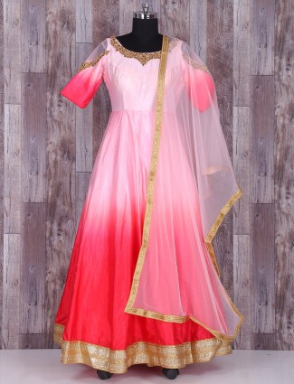 Pink and red silk anarkali suit
