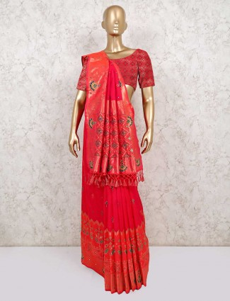Pink and red wedding saree in silk