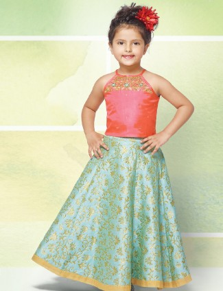 Pink and sky blue color silk choli suit