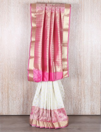 Pink and white bangalore silk saree